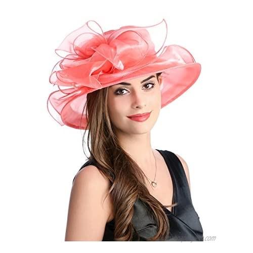Prefe Women's Breathable Bowknot Kentucky Derby Hat Tea Party Church Wedding Hat
