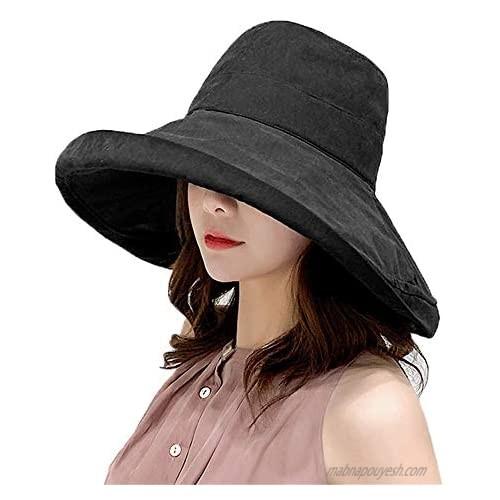 Women's Foldable Flap Cover UV Protective Wide Brim Bucket Cotton Beach Sun Hat Summer Hat