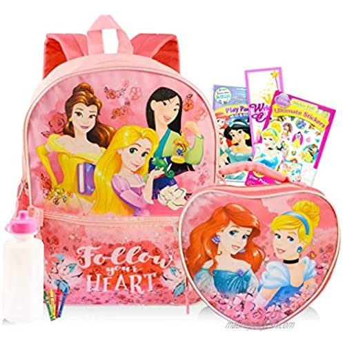 """Disney Princess Backpack 6 Pc Activity Bundle with 16"""" Backpack  Lunch Bag  Coloring Book  and More (Disney Princess School Supplies)"""