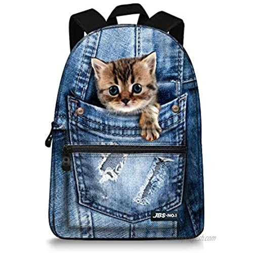 JBS-NO.1 Cute Cats Backpack for Teen Girls Boys Canvas Dogs Animals BookBags for School (cat-4)