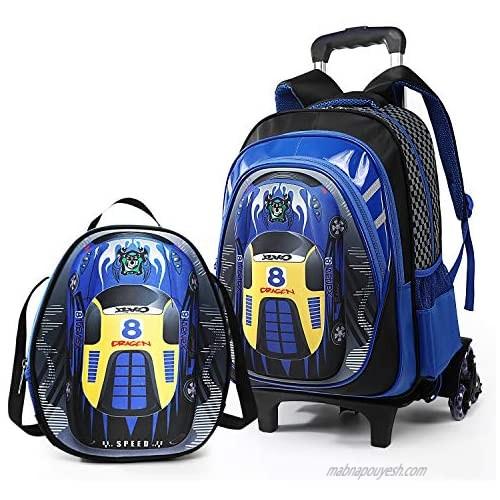 Lyfreen 2Pcs School Bag Kids Rolling Backpack Boys School Backpack Shoulder Bag