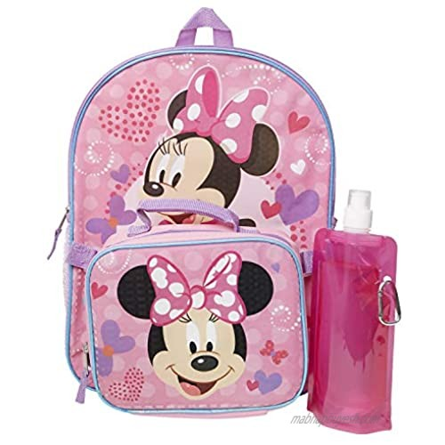 Minnie Mouse Backpack Combo Set - Minnie Mouse Girls 4 Piece Backpack Set - Backpack  Lunch box  Water Bottle and Carabina (Minnie Mouse 4PC)
