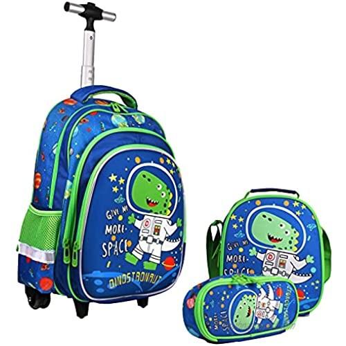 Rolling Backpack 18 Inch Kids Backpack Waterproof School Backpack  3 IN 1 Bookbag Set for Girls Boys Primary School Student Grade 2 to 6