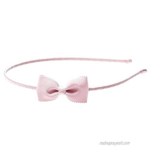 """Anna Belen Girls""""Lana"""" Small Grosgrain Bow Headband O/S Light Pink"""
