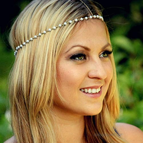 Crysly Boho Piece Chain Gold Pearl Headpiece Wedding Festival Head Chain Jewelry for Women and Girls