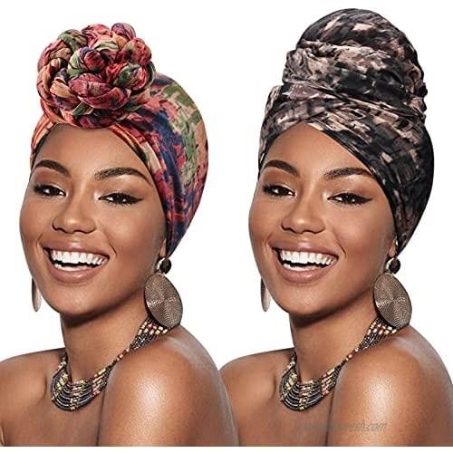 DRESHOW Head Wraps for African Women Long Hair Scarf Dreadlock Braids Turban Accessories
