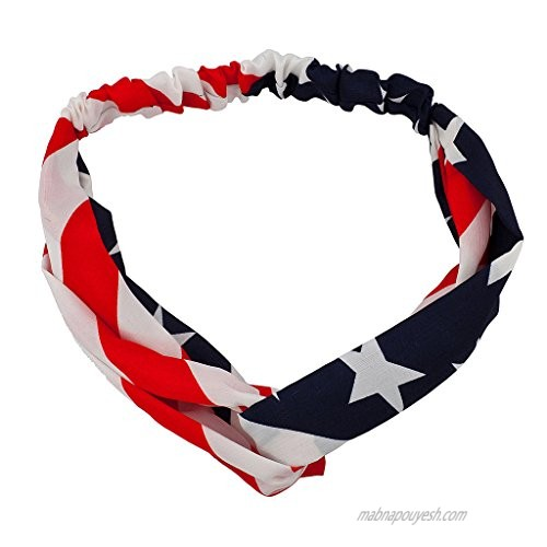 Lux Accessories Large Print Patriotic July 4th Independence Day Head wrap
