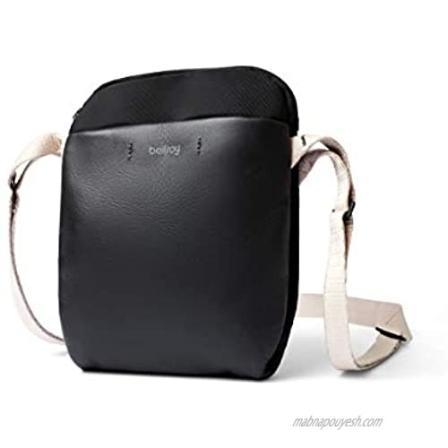 Bellroy City Pouch Premium (Leather Cross-Body Bag  e-Reader or Small Tablet  Wallet  Sunglasses  Phone) - Black Sand