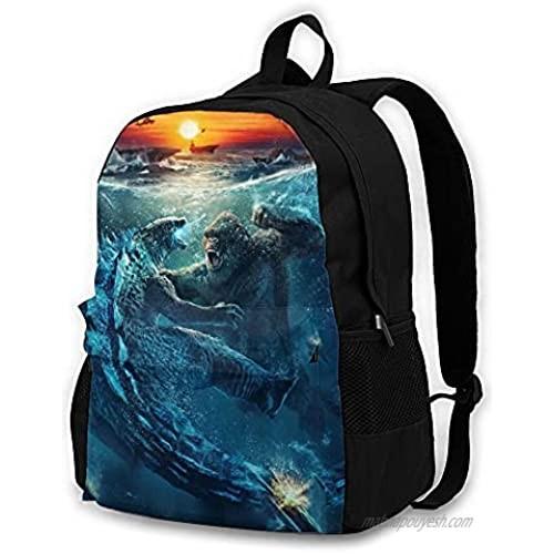 Godzilla'Vs_Kong_ Boys Girls Backpack Casual Laptop Rucksack For School Travel Black