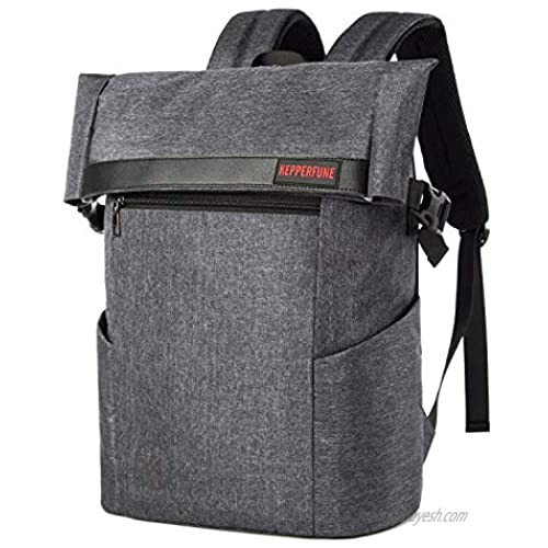 KEPPERFUNE Travel Laptop Backpack for Men Roll Top Backpack Anti Theft Durable Computer Business Backpacks College School Student Bag for Gift Grey 17 Inch