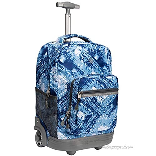 WEISHENGDA 18 inches Wheeled Rolling Backpack for Boys and Girls School Student Books Laptop Travel Trolley Bag  Blue