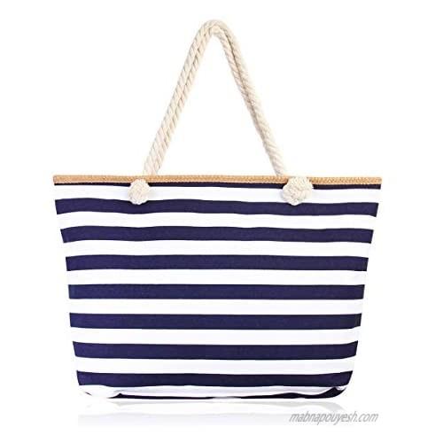 Large Reusable Eco Shopper Beach Tote - Canvas Fabric Travel Shoulder Bag Plaid Stripe  Animal  American Flag