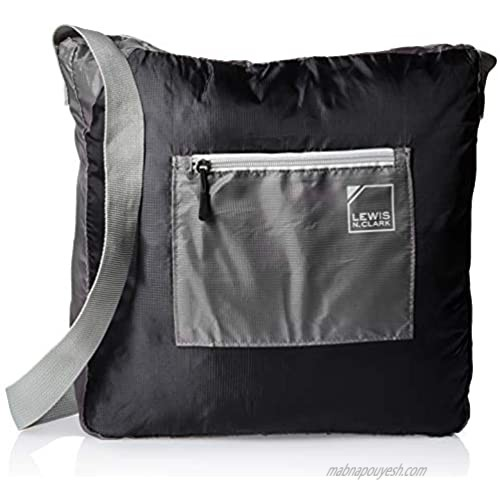 """Lewis N. Clark 15"""" Packable Tote with Neoprene Zip Pouch  Black/Gray  One Size"""
