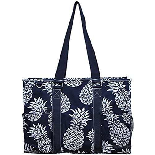 """N. Gil All Purpose Organizer 18"""" Large Utility Tote Bag 2 (Southern Pineapple Navy Blue)"""