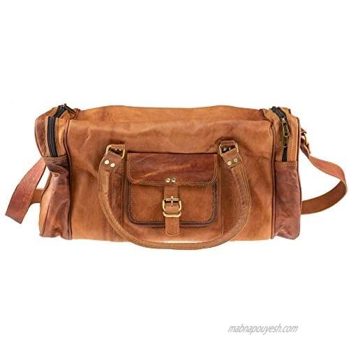 Riverbend Leather Bag  Large Vintage Travel Bag Organizer for Men and Women  Brown