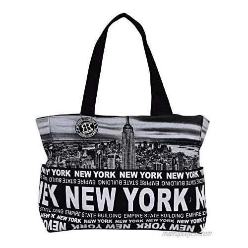 Robin Ruth Medium Tote Bag With NEW YORK CITY Print - Casual Cotton Canvas Shoulder Tote Bag For Women