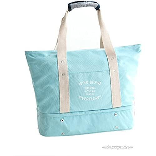 Travel Storage Bag Kit Lightweight Large Capacity with Shoe Bag Interlayer Luggage Packing Tote Bag (Blue)