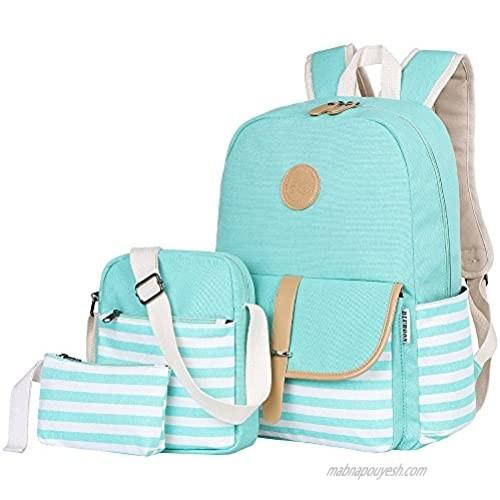 BLUBOON Canvas Bookbags School Backpack Laptop Schoolbag for Teens Girls High School (Water Bule 3 in 1)