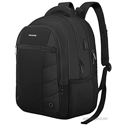 Business Travel Laptop Backpack 17 Inch  TOGORE TripPro Durable Computer Backpack with USB Charging Port for Men & Women  40L Large Water Resistant College School Backpack-Black