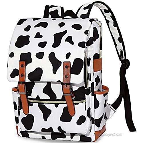 Cow Print Bookbag for Teen Girls Boys  College School Student Laptop Backpack for Womens