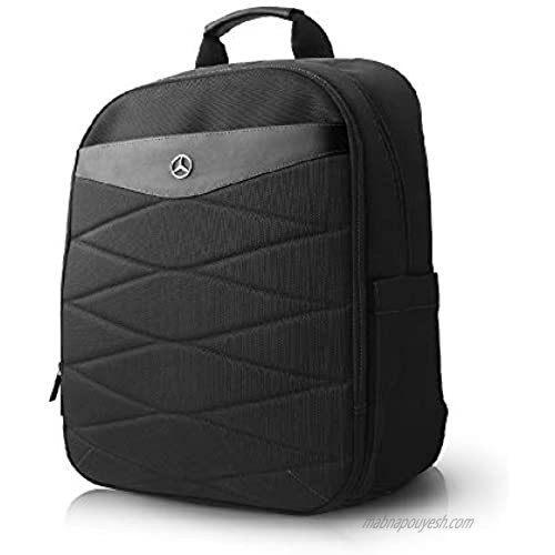 """Mercedes-Benz MacBook Pro Laptop Backpack - Nylon with PU Leather Plate - Slim-Fit Pockets for iPad  iPad Mini  Tablet & Smartphone - 15.6"""" Computer Bags For Men and Women  Black Pattern III"""