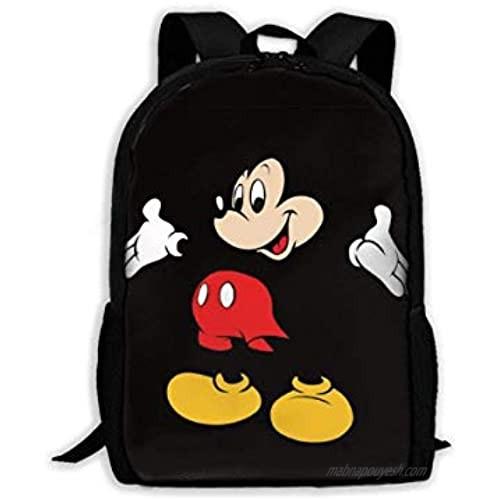 WOMFUI Black Mic-key Mouse Backpack 17 Inch Large Laptop Backpack Cute Bookbag for Men Women