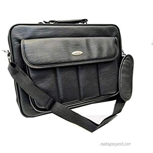 Black Protective Rigid Hard-Corner Leatherette Notebook PC Carrying Case/Briefcase with Shoulder Strap and Back Pocket to Attach to Carry-on Luggage Bag