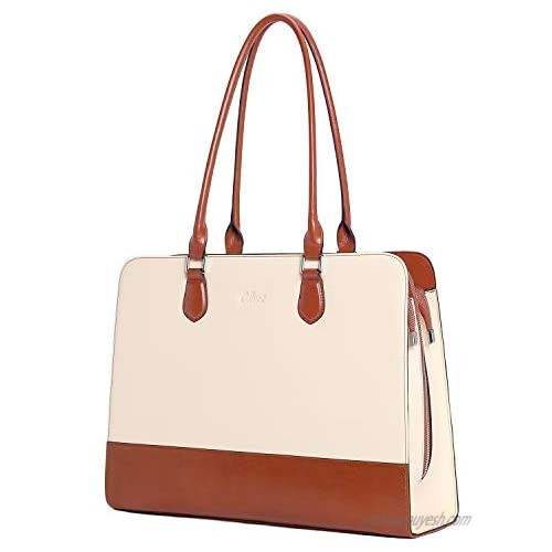 CLUCI Genuine Leather Briefcase for Women 15.6 Inch Laptop Vintage Large Ladies Business Work Shoulder Bags