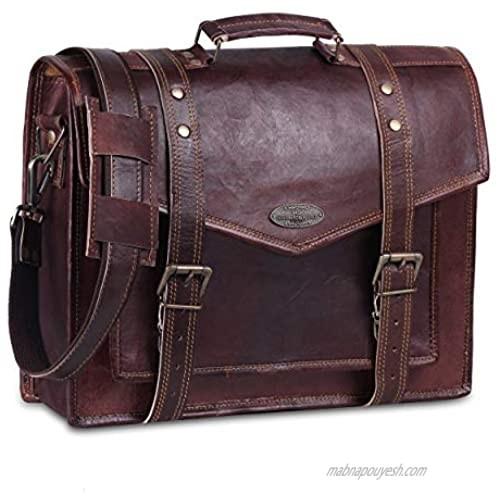 "Handmade World 15"" Leather Messenger Bags for Men Women Mens Briefcase Laptop Computer Satchel School Bag Distressed"