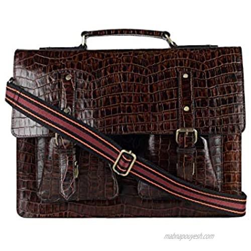 Leather Briefcase for Men Business Laptop Bag Messenger Shoulder Office Bag 16 Inch Handbag Crocodile Print 3 Compartments (Dark Brown-2) SARVAH