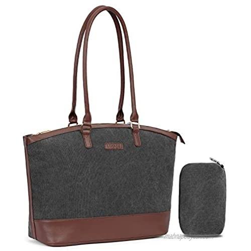 UtoteBag Women 15.6 inch Laptop Shoulder Bag Tote Bag for Notebook Adapte for Business  Casual Handbag Briefcase for Work Computer (Canvas Dark Grey)
