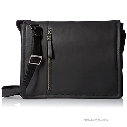 """Visconti Foster 13.3"""" Inch Distressed Oiled Leather Laptop Messenger Bag  Black  One Size"""